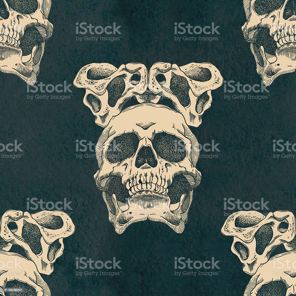 Terrible frightening seamless pattern with skull stock photo