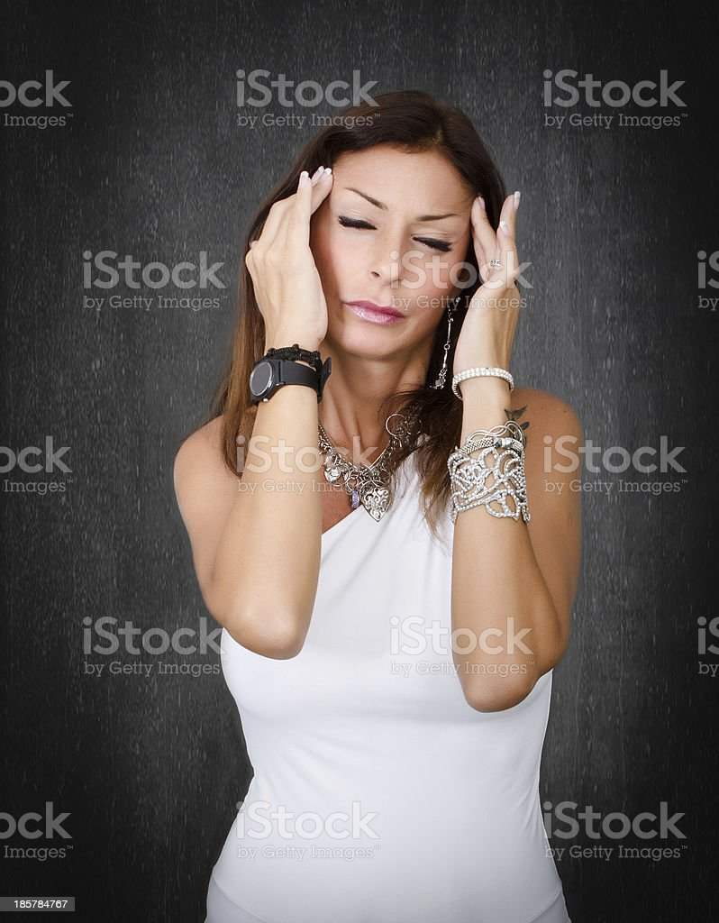 terrible headache for a nice lady royalty-free stock photo