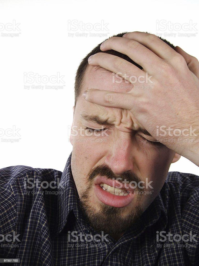 Terrible headache - suffering male portrait royalty-free stock photo