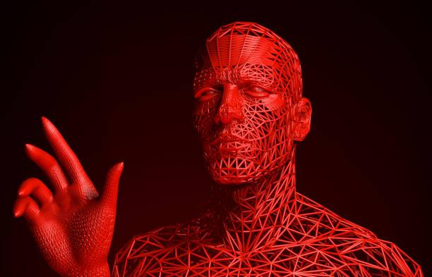 schreckliche interaktive cyborg - männliche körperkunst stock-fotos und bilder