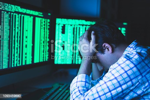 957759714 istock photo Terribly Disappointed after a Massive Data Loss due to Cyber Attack 1093459880