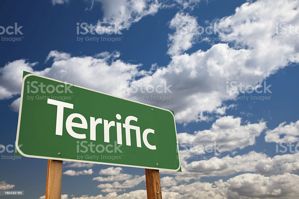 Terrific Green Road Sign with Sky stock photo