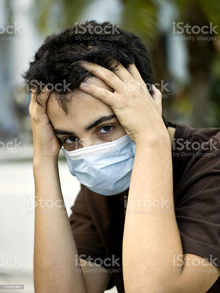 Terrified by the Swine flu royalty-free stock photo