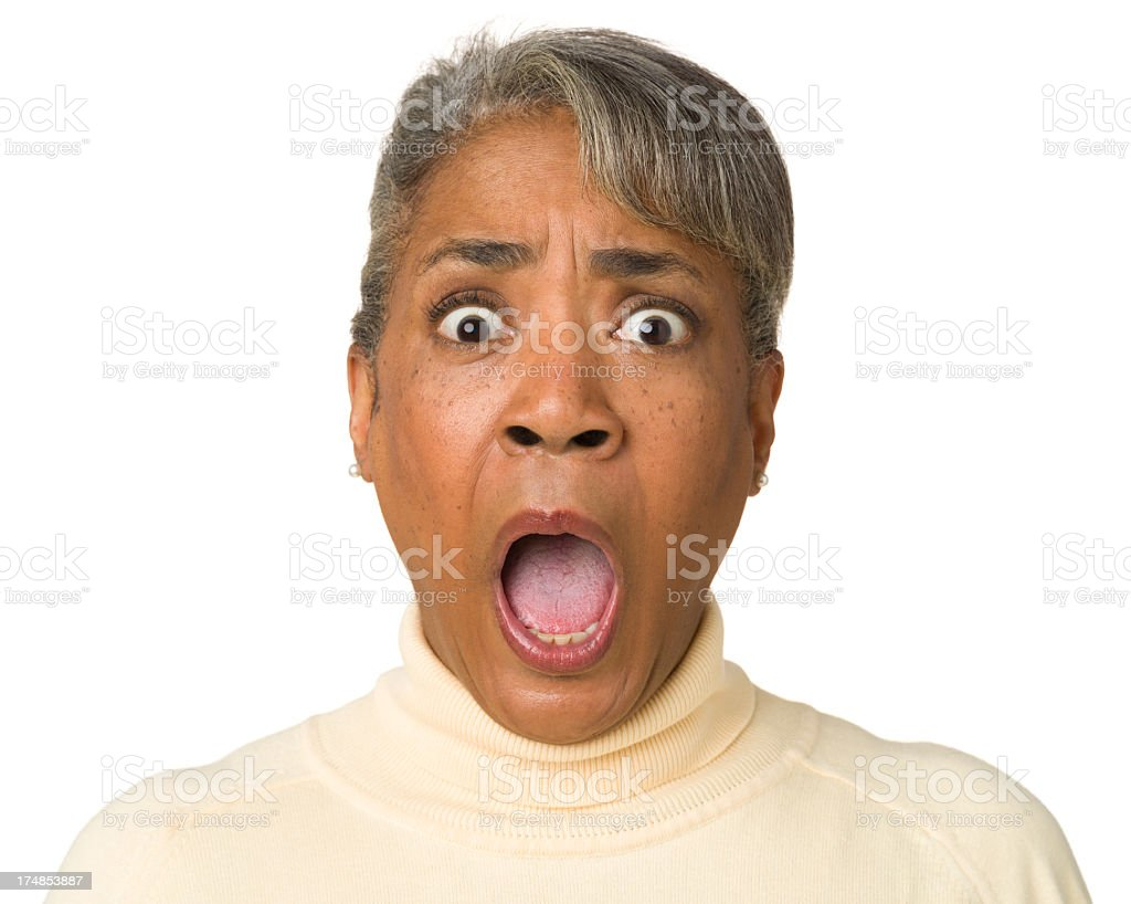 Terrified Gasping Mature Woman stock photo