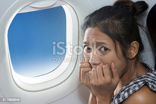 istock terrified passenger on a plane 517869845