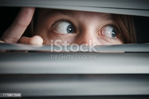 istock Terrified wide-eyed teenage girl looking through closed blinds 1170872535