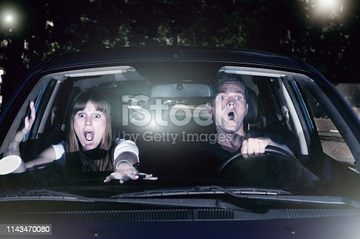 A screaming young couple in a car at night try desperately to avoid having an accident.