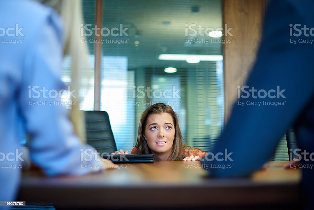 terrifying interview stock photo