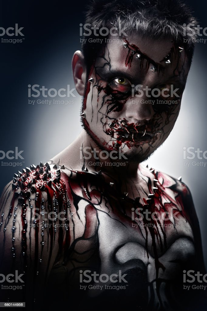 Terrifying look. stock photo