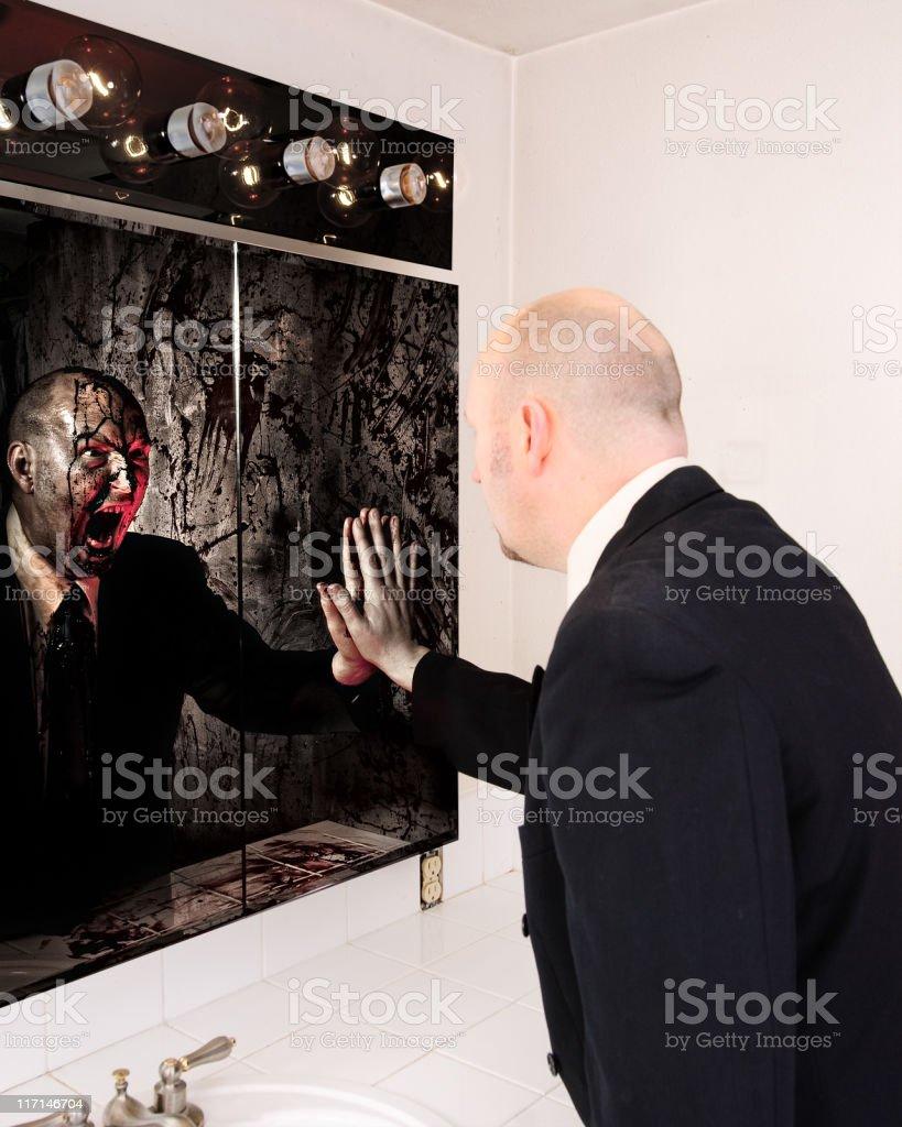 Terrifying Mirror Reflection royalty-free stock photo