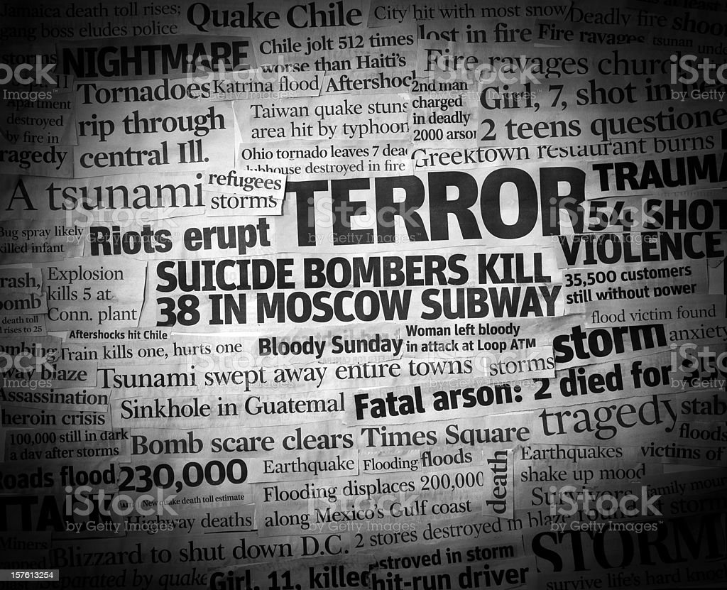 Terror Headline Collage stock photo