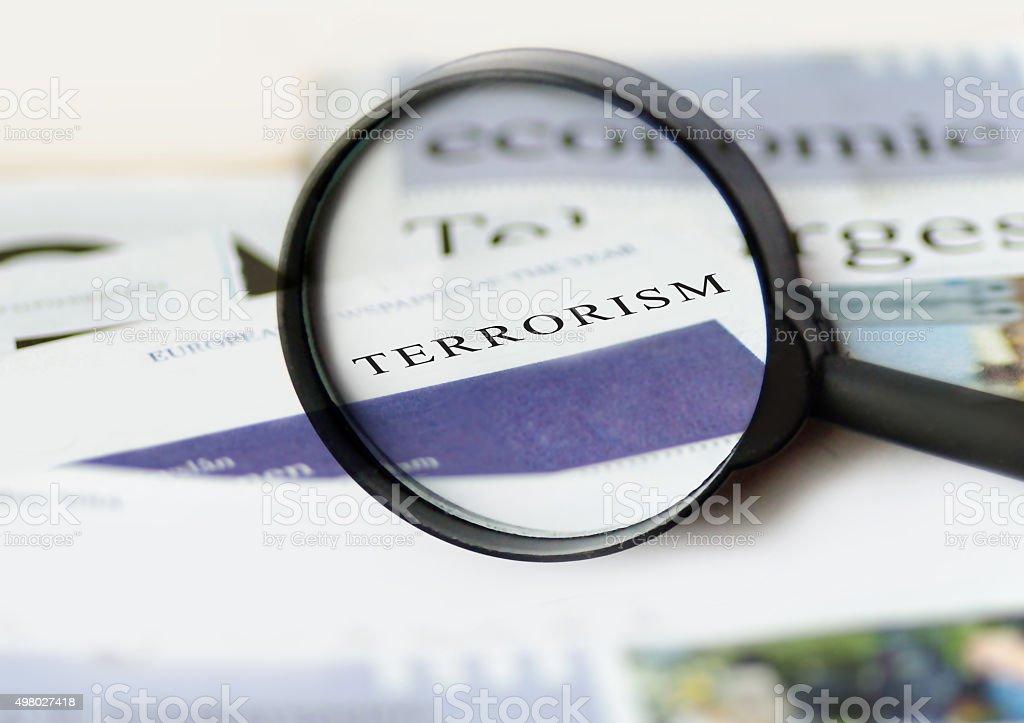 Terrorism  daily newspaper headline stock photo