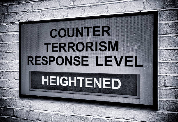 Terrorism warning sign Grungy textured reflective sign at a British naval base indicating the level of the British counter terrorism response level. The level varies according to the available information. (The sign appears grey because of the reflective spots.) counter terrorism stock pictures, royalty-free photos & images