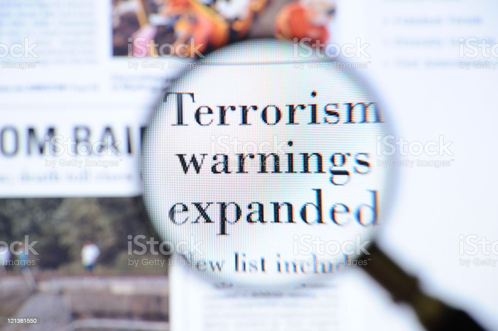 Terrorism warnings headlines stock photo