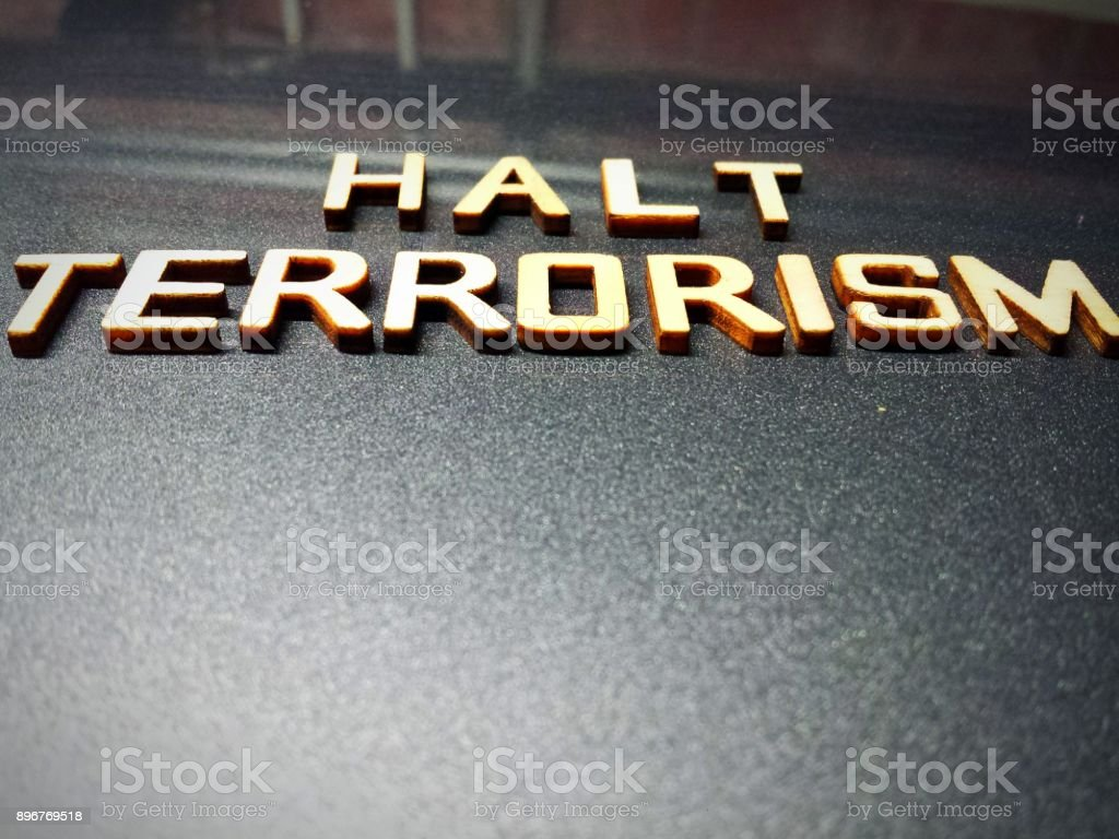terrorism word quote heading title stock photo