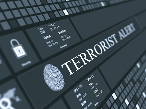 Digital concept which shows abstract  background and Terrorist alert text with fingerprint