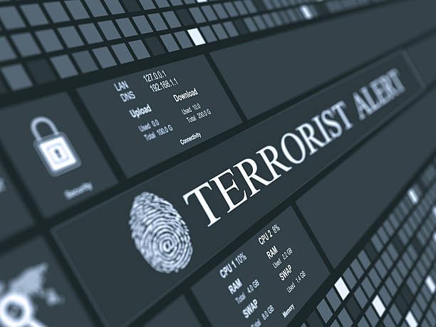 Terrorist alert concept Digital concept which shows abstract  background and Terrorist alert text with fingerprint terrorism stock pictures, royalty-free photos & images