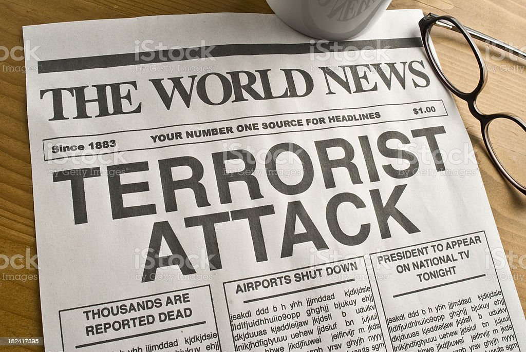 Terrorist Attack Headline stock photo
