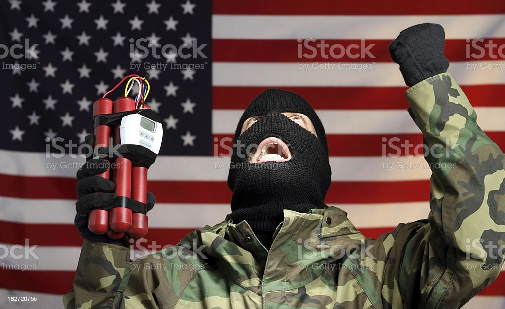 Terrorist Bomber in America Horizontal royalty-free stock photo