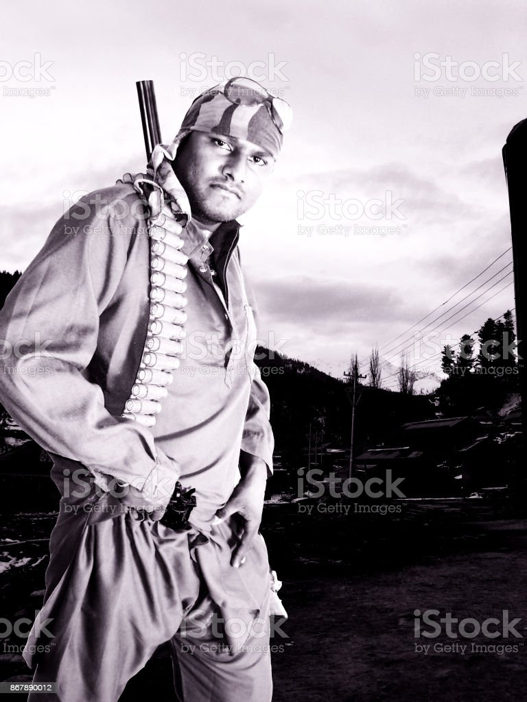 Terrorist criminal portrait stock photo