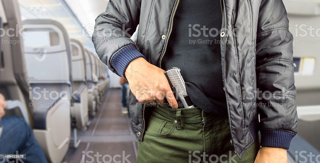 terrorist in a airplane stock photo