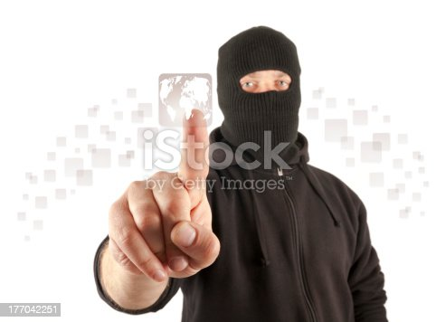 istock Terrorist pushing the virtual button 177042251