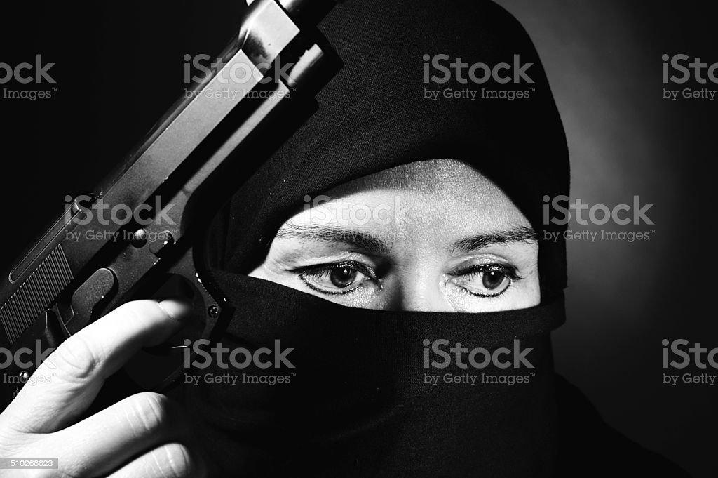 terrorist woman stock photo
