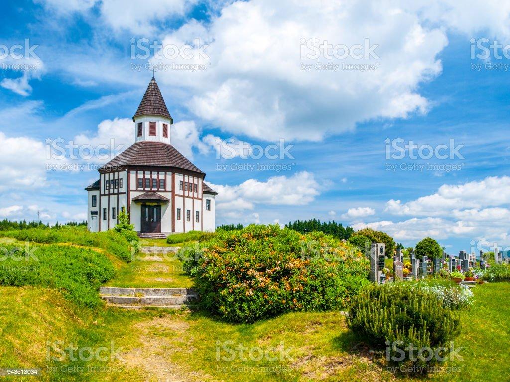 Tesarov Chapel. Small wooden evangelical religious bulding in Korenov, Czech Republic stock photo