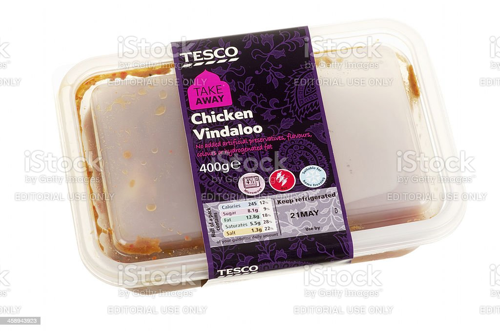 Tesco Chicken Vindaloo Curry Ready Made Meal In Plastic Container