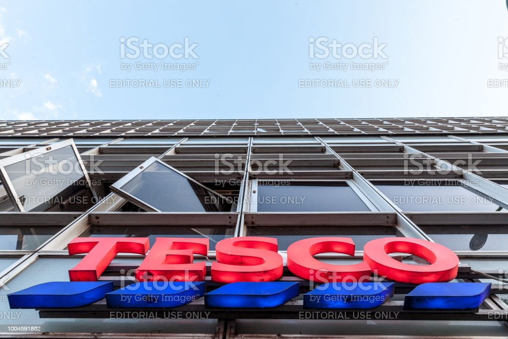 7d533bb52309 Tesco on their main supermaket in Szeged. Tesco is a british supermarket,  groceries and general merchandise retailer spread in Europe - Stock image .