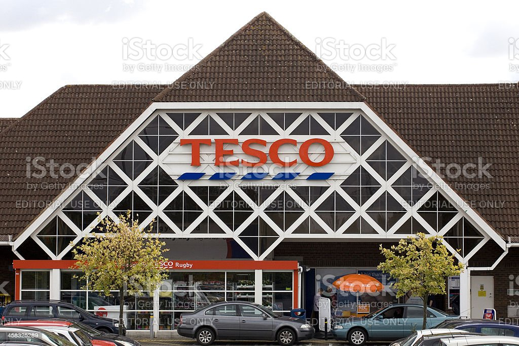 Tesco Supermarket from the front car-park stock photo