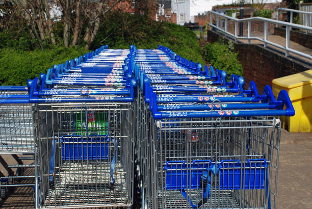 Tesco supermarket trolleys, Tenterden stock photo