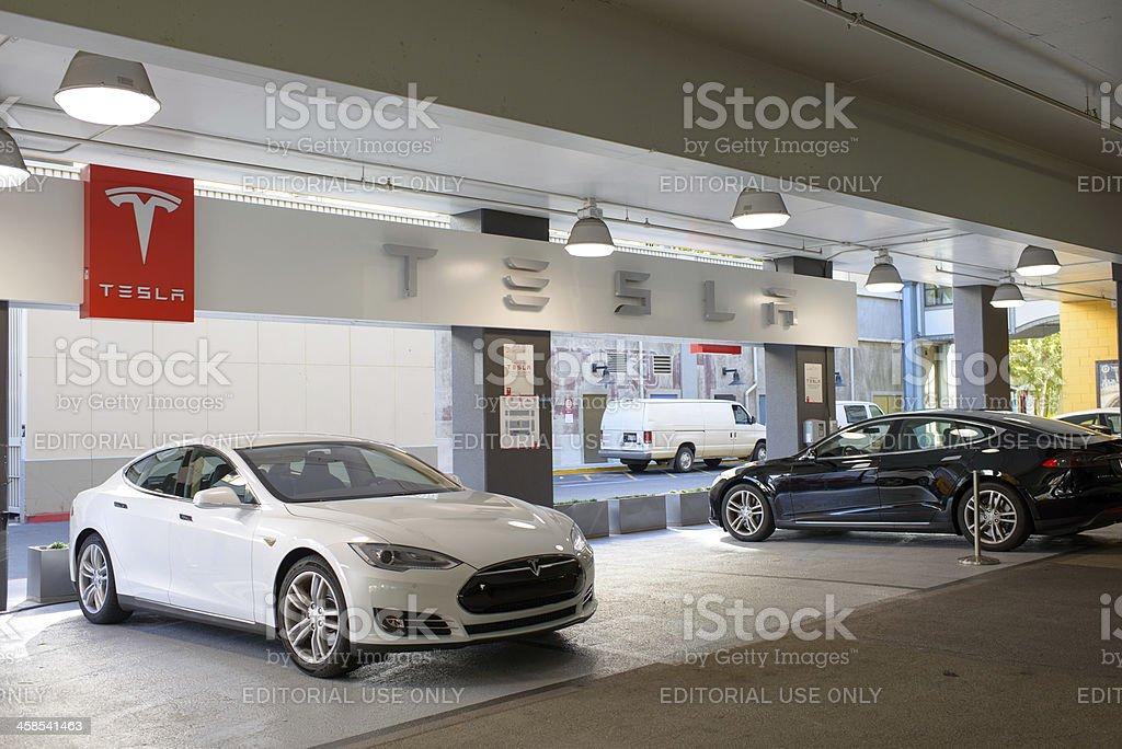Tesla Charging Station at a Parking Garage stock photo