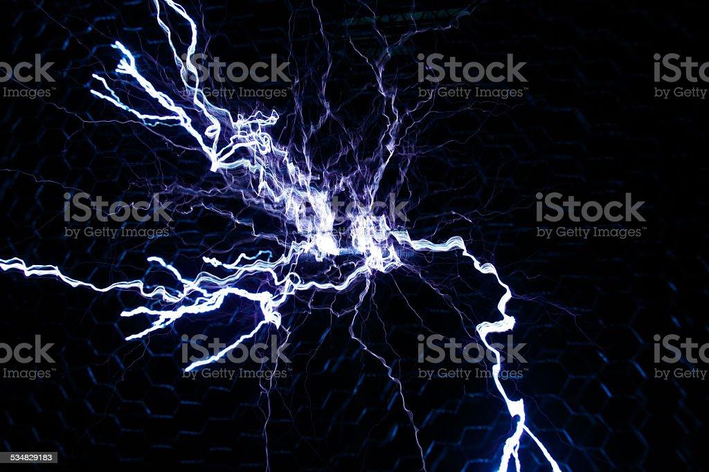 Tesla Coil Lightning stock photo