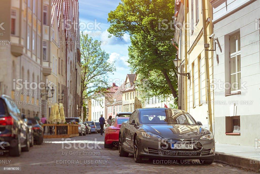 Tesla electric Car on street, Tallinn stock photo