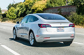 August 31, 2019 Mountain View / CA / USA - Tesla Model 3 driving on the freeway