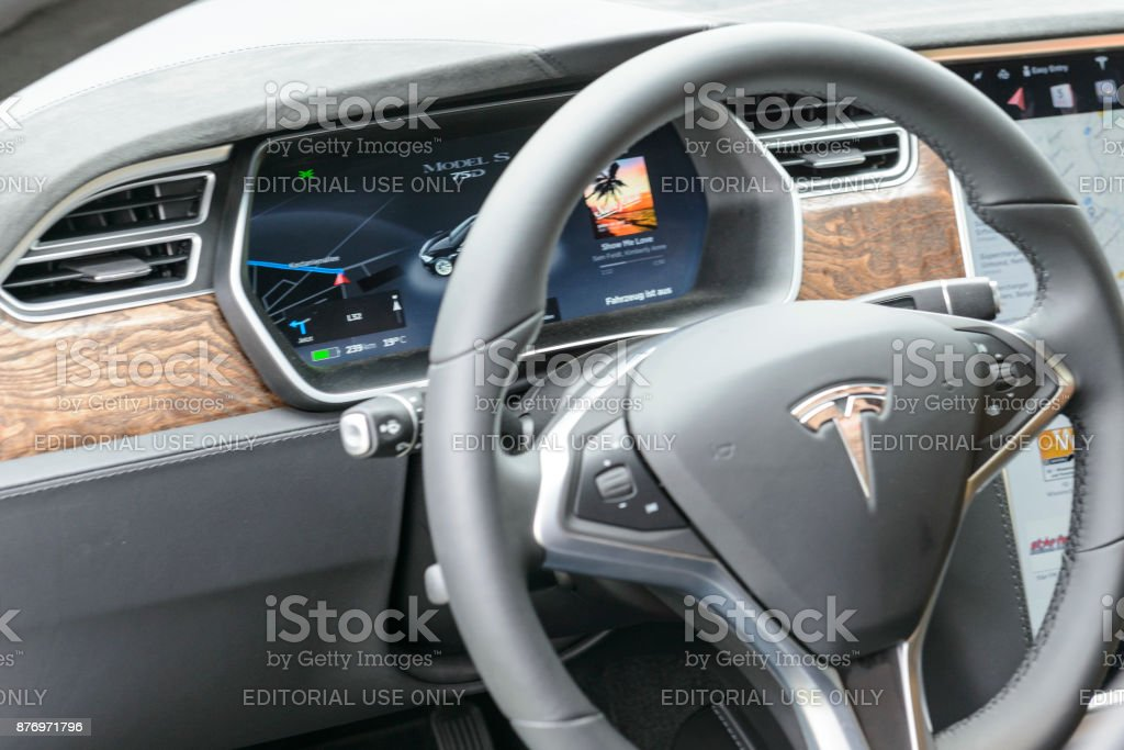 Tesla Model S all-electric luxury saloon car dashboard stock photo
