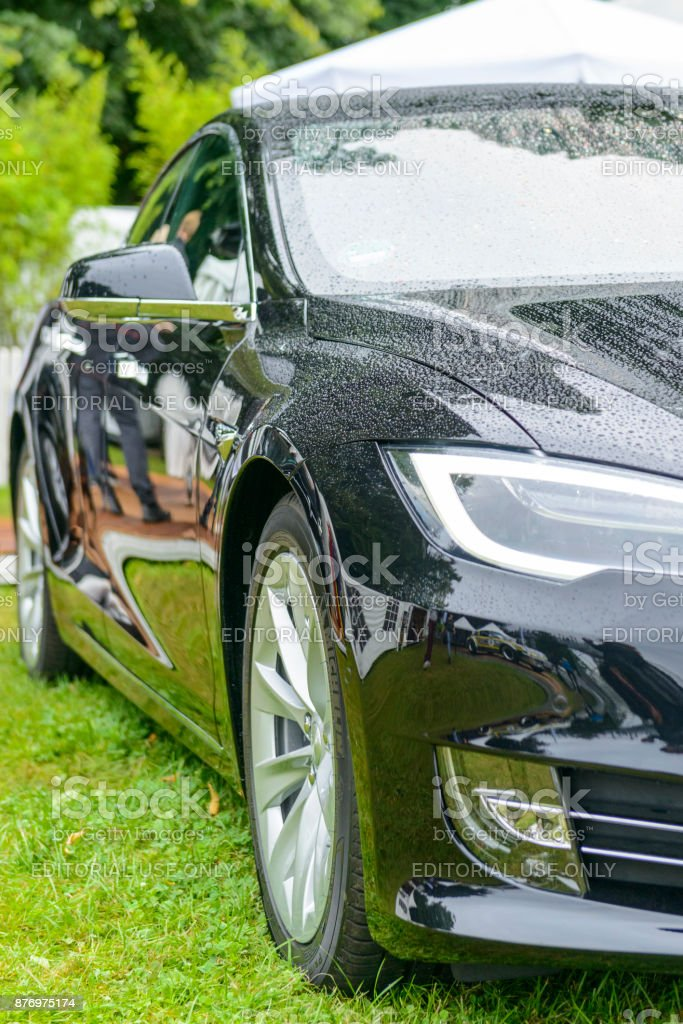 Tesla Model S all-electric luxury saloon car stock photo