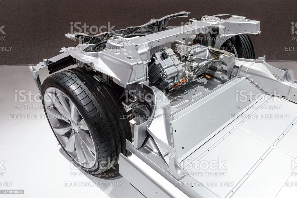 Tesla Model S Full Electric Engine On A Chassis Stock Photo More