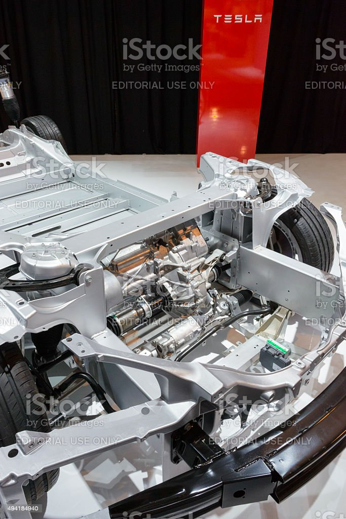 Tesla Model S full electric engine on a chassis stock photo
