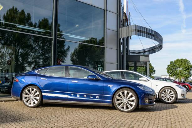 Tesla Model S full electric luxury car stock photo