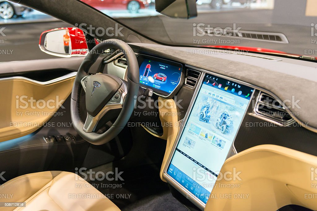 Tesla Model S P90d Full Electric Luxury Car Dashboard Stock Photo