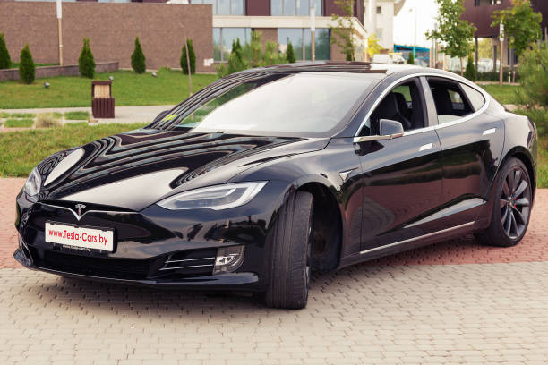 Tesla model S Minsk, Belarus. September, 2018. Exclusive expensive American premium car Tesla model S. High-tech modern development. The robotic car of the future. tesla model s stock pictures, royalty-free photos & images