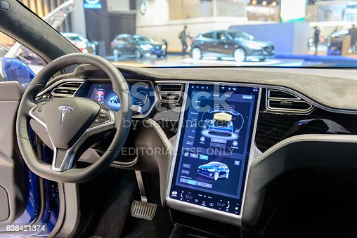 Tesla Model X 90d Electric Luxury High Tech Interior Stock