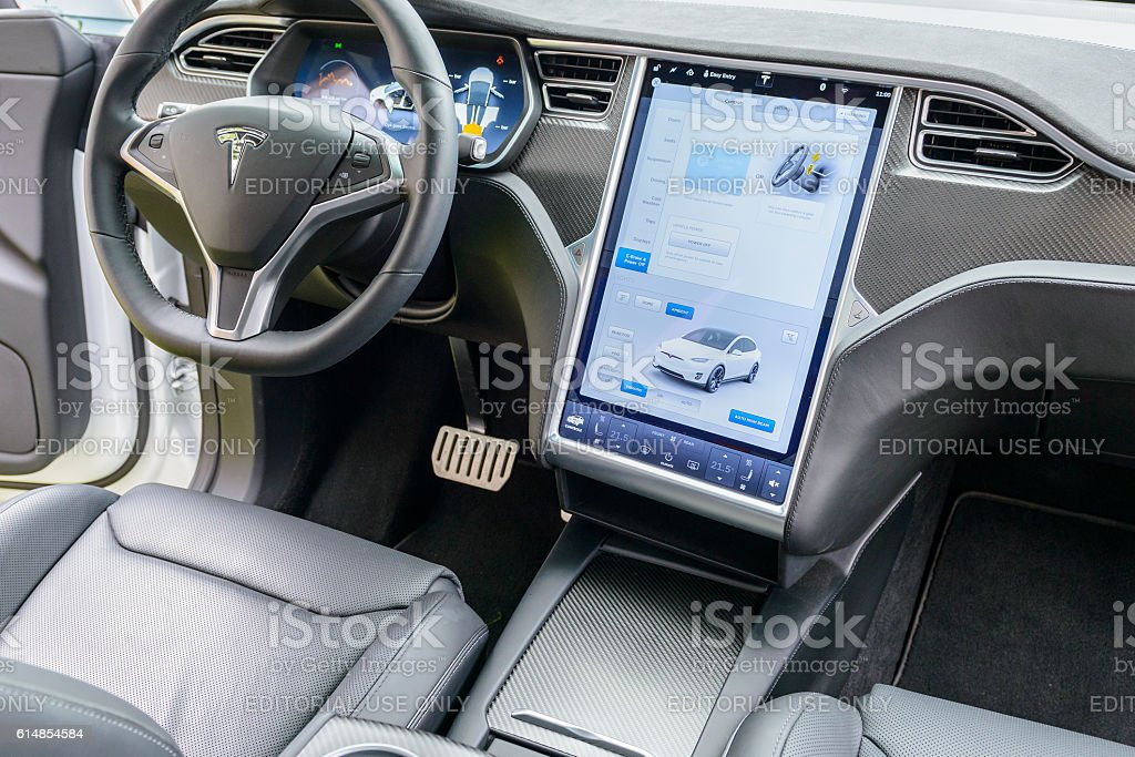 Suv Tesla Interior >> Tesla Model X Allelectric Crossover Suv Interior Stock Photo More