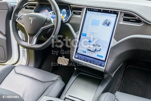 tesla model x allelectric crossover suv interior stock photo more pictures of 2016 istock. Black Bedroom Furniture Sets. Home Design Ideas