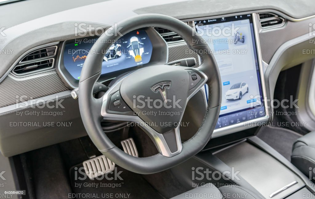 Tesla Model X all-electric crossover SUV interior stock photo