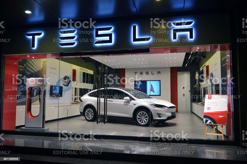 Tesla on display in Shanghai foto stock royalty-free