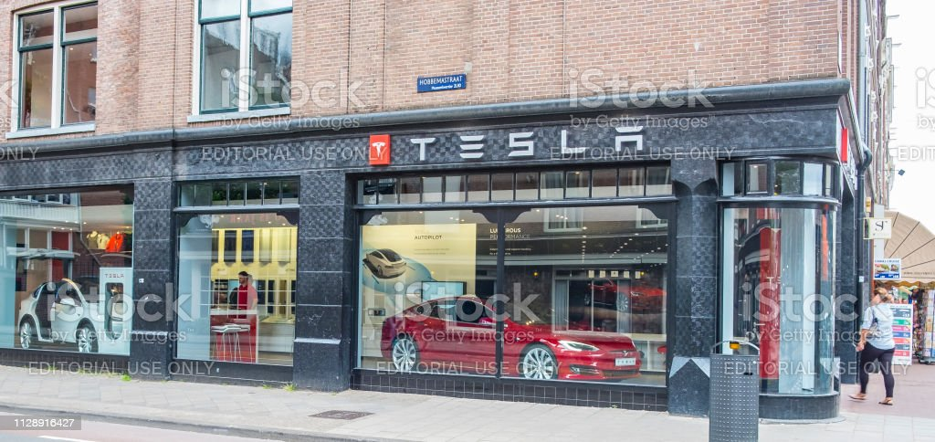 Tesla showroom with Tesla Model S and X electric cars stock photo