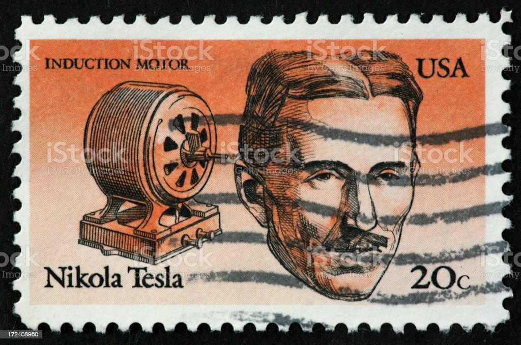 Tesla stamp stock photo